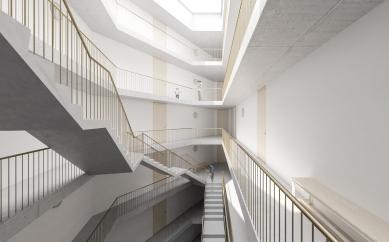Bytové domy 4 Dvory v Českých Budějovicích - vítězný projekt - Vizualizace schodiště - foto: Ondřej Žvak
