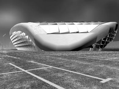 Sadar Vuga – slovinské zaklínadlo úspěchu - Univerzitní sportovní hala, Lublaň, mezinárodní otevřená anonymní soutěž, 1997; formule: compressed container - foto: archiv Sadar Vuga