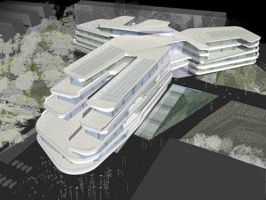 Sadar Vuga – slovinské zaklínadlo úspěchu - Tři akademie – hudebních, dramatických a výtvarných umění, Lublaň, otevřená anonymní soutěž, 2005; formule: vertical hall - foto: archiv Sadar Vuga