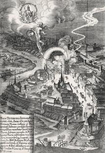 Středoevropské forum Olomouc - architektonická studie - Pohled na Olomouc s požárem Nové brány, z bakalářské teze Matyáše Schmidta, 1676 - foto: SEFO - zasazení do městské struktury