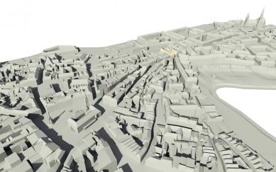 Středoevropské forum Olomouc - architektonická studie - SEFO, vizualizace zasazení areálu do městské struktury - foto: © Design4function s.r.o.