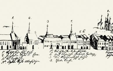 Středoevropské forum Olomouc - architektonická studie - Pohled na část olomouckého Předhradí – vlevo pod č. 1 špitální kostel sv. Ducha, 1745 - foto: © Muzeum umění Olomouc