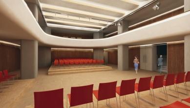 Středoevropské forum Olomouc - architektonická studie - SEFO, vizualizace víceúčelového sálu (kino Central) - foto: © Design4function s.r.o.