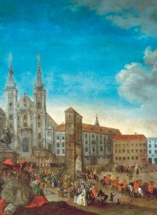 Středoevropské forum Olomouc - architektonická studie - Výsek z obrazu F. V. Korompaye Průvod kintronizaci kardinála Troyera s Novou branou, 1783 (?) - foto: © Muzeum umění Olomouc