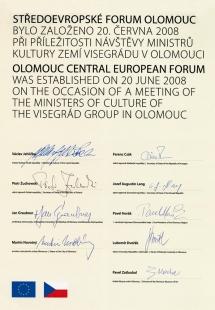 Středoevropské forum Olomouc - architektonická studie - Zakládací listina Středoevropského fora Olomouc - foto: © Muzeum umění Olomouc