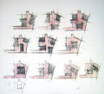 Peter Zumthor: 3 stavby, 4 projekty - Kolumba - umělecké muzeum arcibiskupství v Kolíně nad Rýnem – vývoj hmotové kompozice.