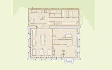 Projekt přestavby Rambertovy chaty od Bonnard Woeffray Architectes - Půdorys přízemí - foto: BW Architectes