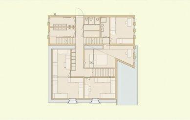 Projekt přestavby Rambertovy chaty od Bonnard Woeffray Architectes - Půdorys patra - foto: BW Architectes