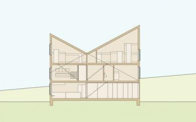 Projekt přestavby Rambertovy chaty od Bonnard Woeffray Architectes - Řez přístavbou - foto: BW Architectes