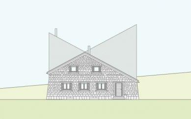 Projekt přestavby Rambertovy chaty od Bonnard Woeffray Architectes - Čelní pohled - foto: BW Architectes