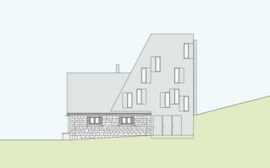 Projekt přestavby Rambertovy chaty od Bonnard Woeffray Architectes - Boční pohled - foto: BW Architectes