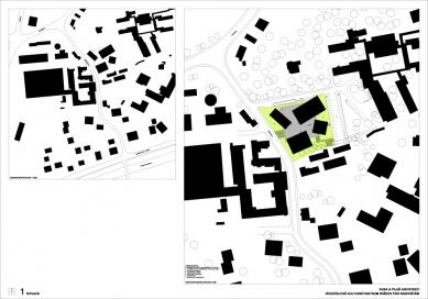 Výsledky soutěže na kulturní centrum v Rožnově pod Radhoštěm - 1. cena - Situace - foto: KUBA & PILAŘ architekti