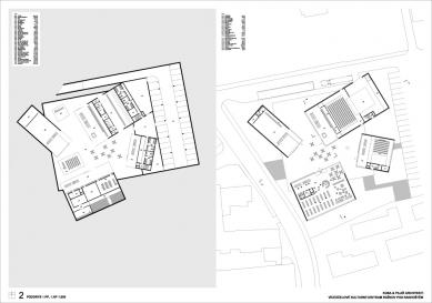 Výsledky soutěže na kulturní centrum v Rožnově pod Radhoštěm - 1. cena - Půdorys 1PP a 1NP - foto: KUBA & PILAŘ architekti
