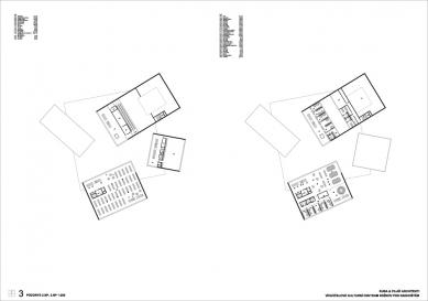 Výsledky soutěže na kulturní centrum v Rožnově pod Radhoštěm - 1. cena - Půdorys 2NP a 3NP - foto: KUBA & PILAŘ architekti