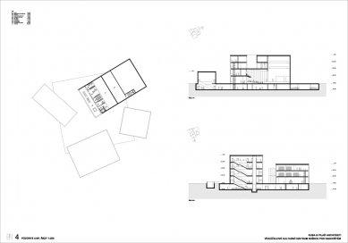 Výsledky soutěže na kulturní centrum v Rožnově pod Radhoštěm - 1. cena - Půdorys 4NP a řezy - foto: KUBA & PILAŘ architekti
