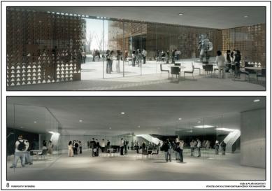 Výsledky soutěže na kulturní centrum v Rožnově pod Radhoštěm - 1. cena - Perspektivy interuiéru - foto: KUBA & PILAŘ architekti