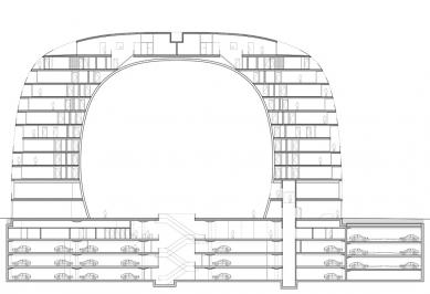 Začátek stavby tržnice v Rotterdamu od MVRDV - Příčný řez - foto: MVRDV