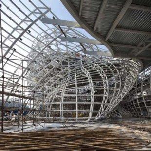 Španělský pavilon pro šanghajské Expo 2010 od EMBT - Fotografie z průběhu stavby - foto: EMBT