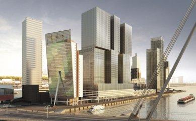 Zahájení stavby De Rotterdam od OMA - Pohled z mostu Erasmusbrug - foto: OMA