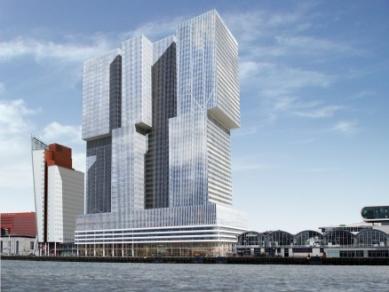 Zahájení stavby De Rotterdam od OMA - Pohled z vodní hladiny - foto: OMA