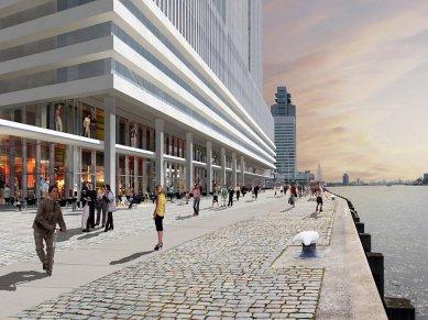 Zahájení stavby De Rotterdam od OMA - Blízký pohled z nábřeží - foto: OMA