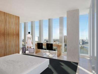Zahájení stavby De Rotterdam od OMA - Interiér hotelového pokoje - foto: OMA