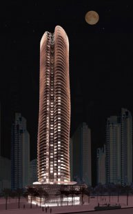 Magnolia Tower v Dubaji od Sadar Vuga Arhitekti - Noční pohled - foto: Sadar Vuga Arhitekti