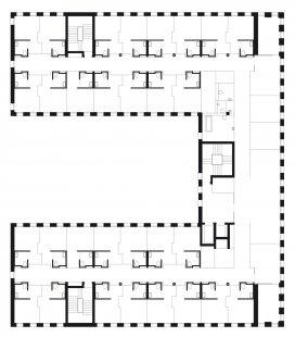 Diakonie v Düsseldorfu od baumschlager eberle architekten - Typický půdorys diakonie - foto: Baumschlager Eberle, Lochau