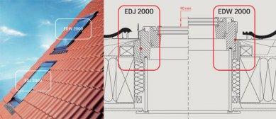 Výrobky VELUX vhodné do nízkoenergetických staveb - Zateplená lemování – lemování se zateplovací sadou BDX slouží k optimálnímu zateplení okna a přispívá ke snížení tepelných ztrát. Pomocí lemování EDJ 2000 je střešní okno zapuštěno do konstrukce střechy o 40 mm níže, oproti montáži s lemováním EDW 2000. Tím je zajištěna jednak vodotěsnost a ochrana proti povětrnostním vlivům, zlepšení tepelně-technických vlastností okna, ale navíc z estetického hlediska také nenápadná instalace do střešní krytiny.
