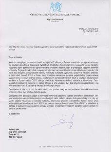 Odpověď na Otevřený dopis rektorovi ČVUT v záležitosti řešení rozvoje areálu v Praze