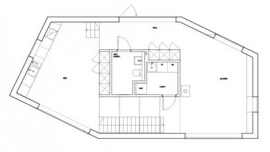 Dům Tumle u Göteborgu od Johannes Norlander - Půdorys přízemí - foto: Johannes Norlander Arkitektur AB