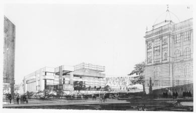 Výstava – Věra a Vladimír Machoninovi 60' / 70' - Národní shromáždění v Praze, perspektiva - foto: Archiv ÚRM