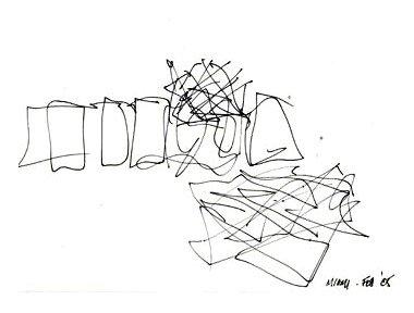 Koncertní sál v Miami od Franka Gehryho - Skica - foto: Courtesy of Frank Gehry Partners, LLP